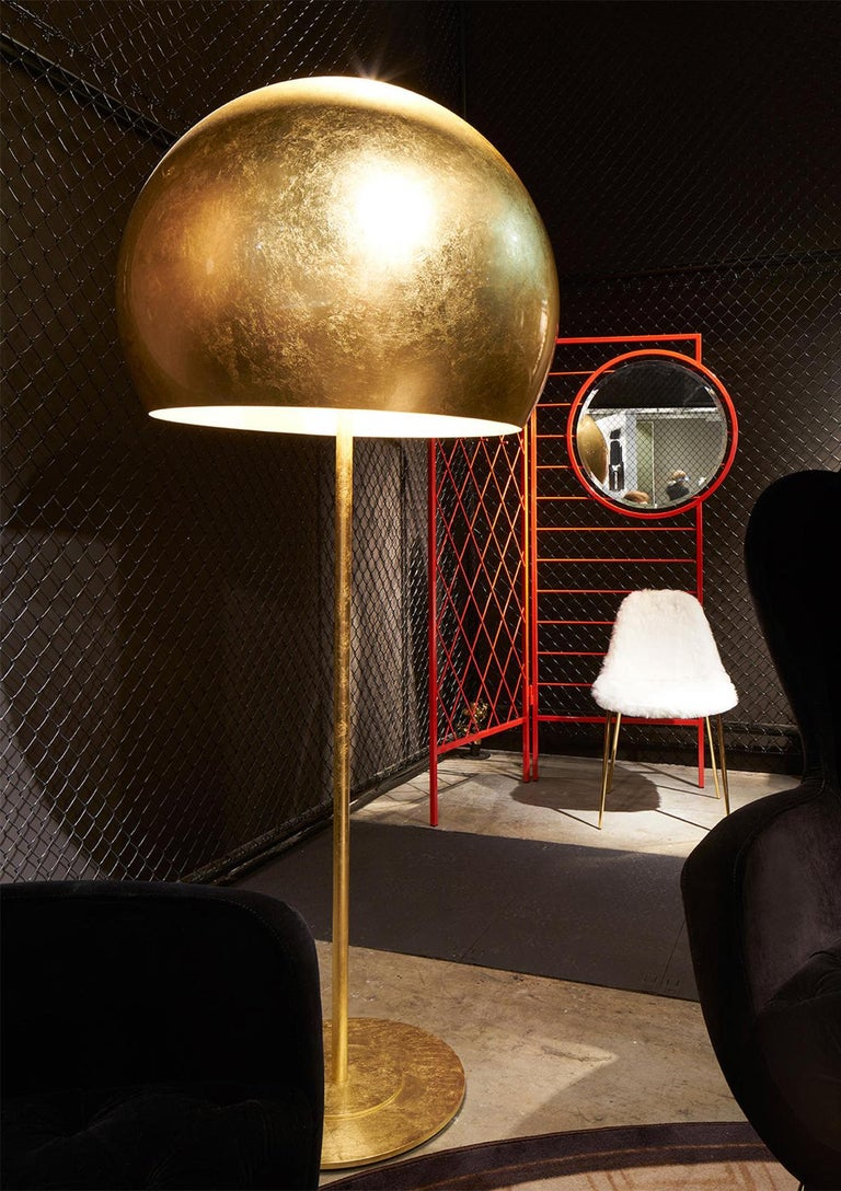 Italian Dome Gold Leaf Floor Lamp For Sale