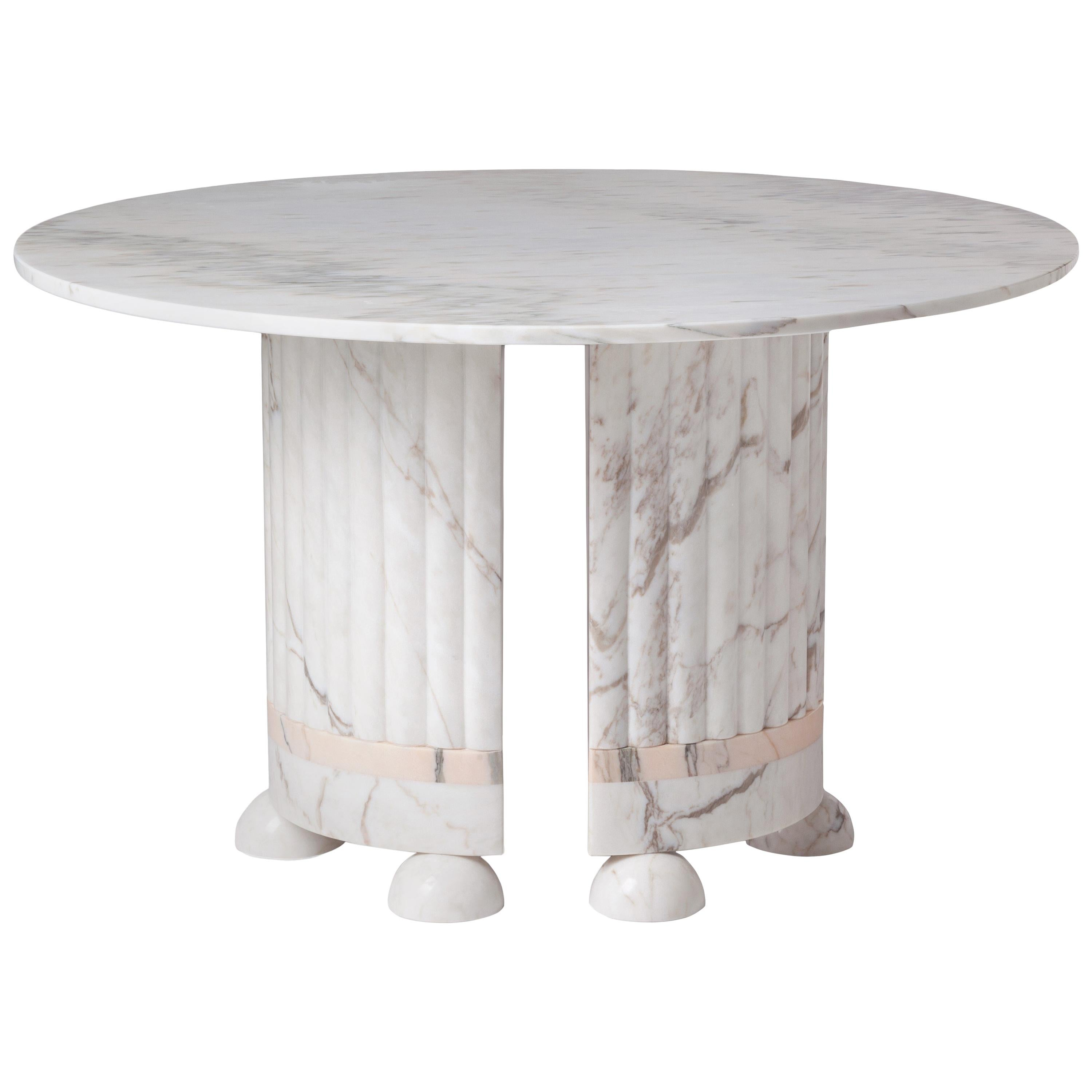 Dome Marble Dining Table, Contemporary Round Table In White And Rose Marble
