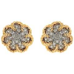 Dome Pave Diamond Gold Platinum Twisted Wire Earrings