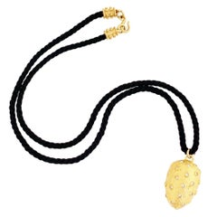 Dome Pendant Necklace On Twisted Black Silk Cord By Leslie Block, 1990s
