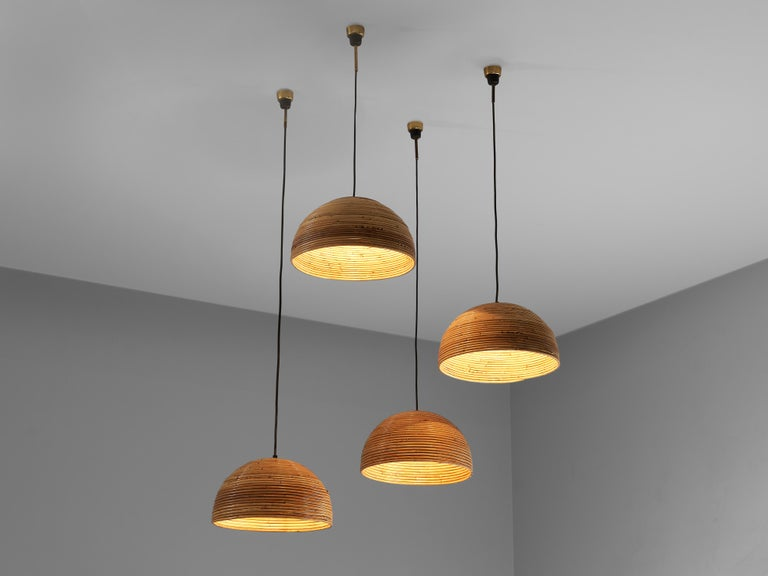 Mid-Century Modern Dome Pendants in Bamboo Bentwood and Brass For Sale