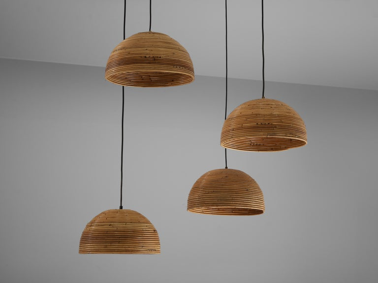 European Dome Pendants in Bamboo Bentwood and Brass For Sale