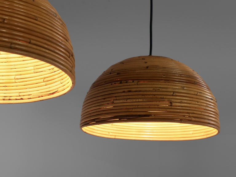 Mid-20th Century Dome Pendants in Bamboo Bentwood and Brass For Sale