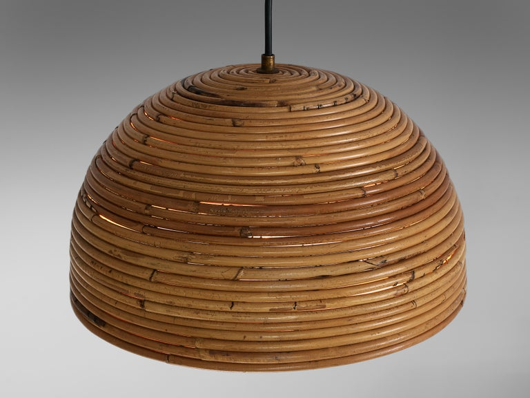 Dome Pendants in Bamboo Bentwood and Brass For Sale 2