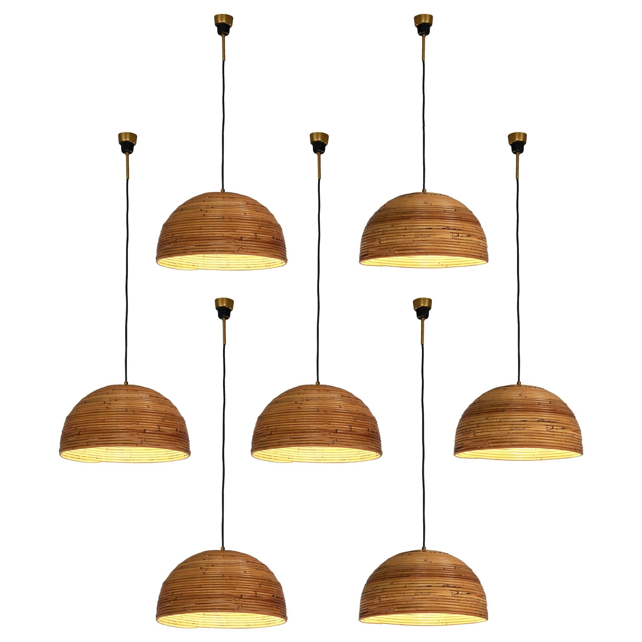 Dome Pendants in Bamboo Bentwood and Brass