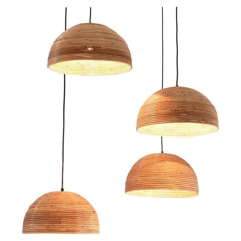 Dome Pendants in Bamboo Bentwood and Brass For Sale