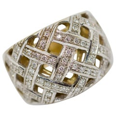 Dome Ring, 18 Karat Gold with Diamonds