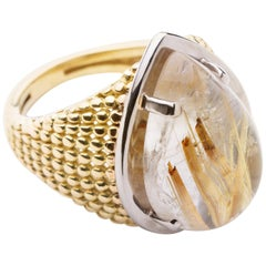 Dome Ring Anne Bourat  Pear Shape  Quartz Rutile  Yellow Gold 18k  Metric 50