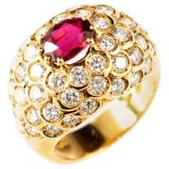 Dome Ruby 52 Diamonds 18 Karat Yellow Gold Round Cluster Cocktail Imperial Ring