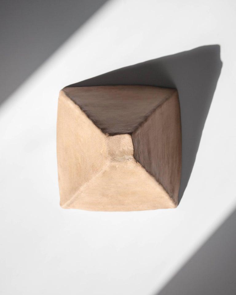 Contemporary Dome Table or Desk Lamp in Blackened Steel, Shiga Stoneware & Feldspar Modern For Sale