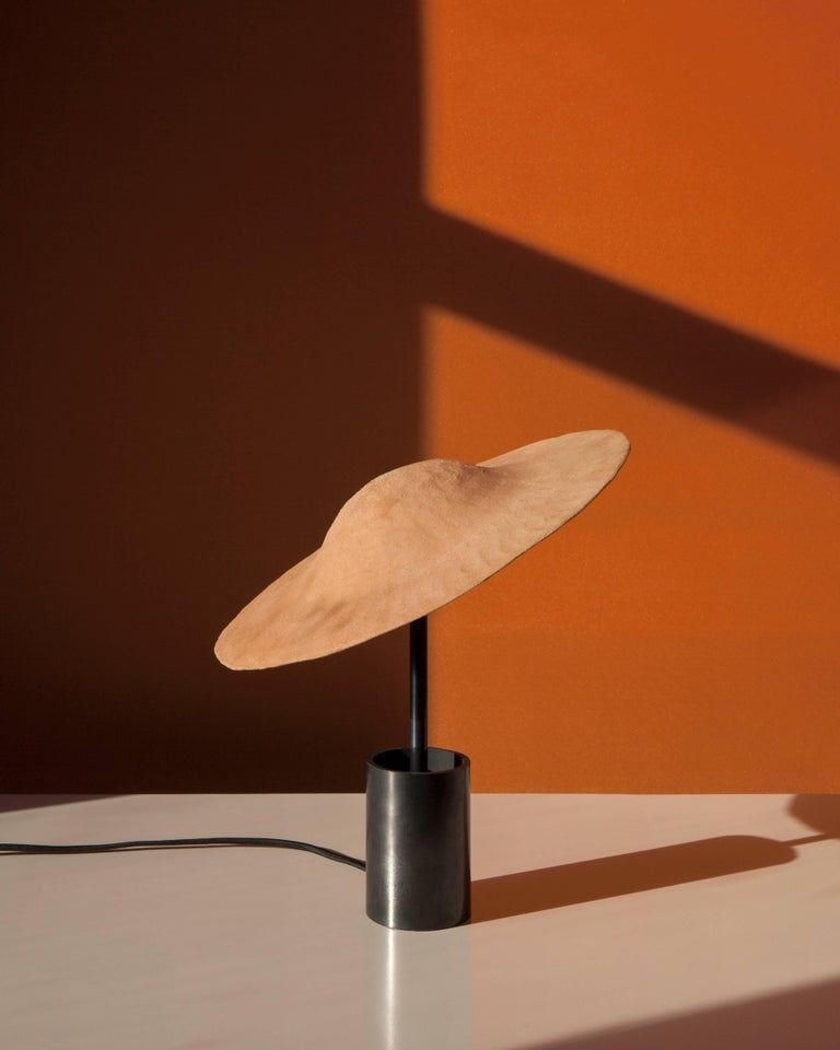 Precious Stone Dome Table or Desk Lamp in Blackened Steel, Shiga Stoneware & Feldspar Modern For Sale