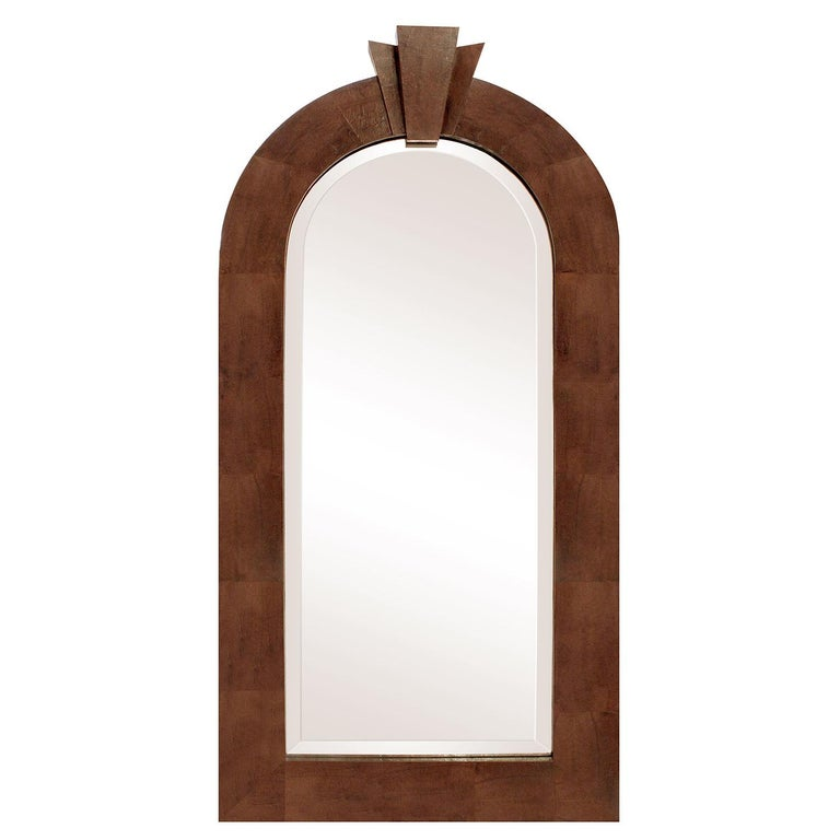 """""""Dome Top Art Deco Mirror"""" in Lizard Skin by Karl Springer For Sale"""