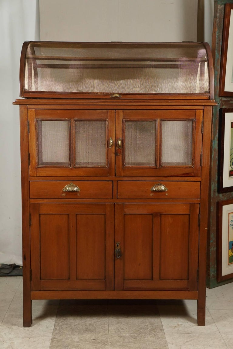 An unusual piece. This cabinet was designed to keep Intruders away. The brass screening allows the flow of air. Lots of storage above and below.