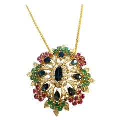 Domed 10 Carat Sapphire Diamond Emerald and Ruby Necklace Pendant