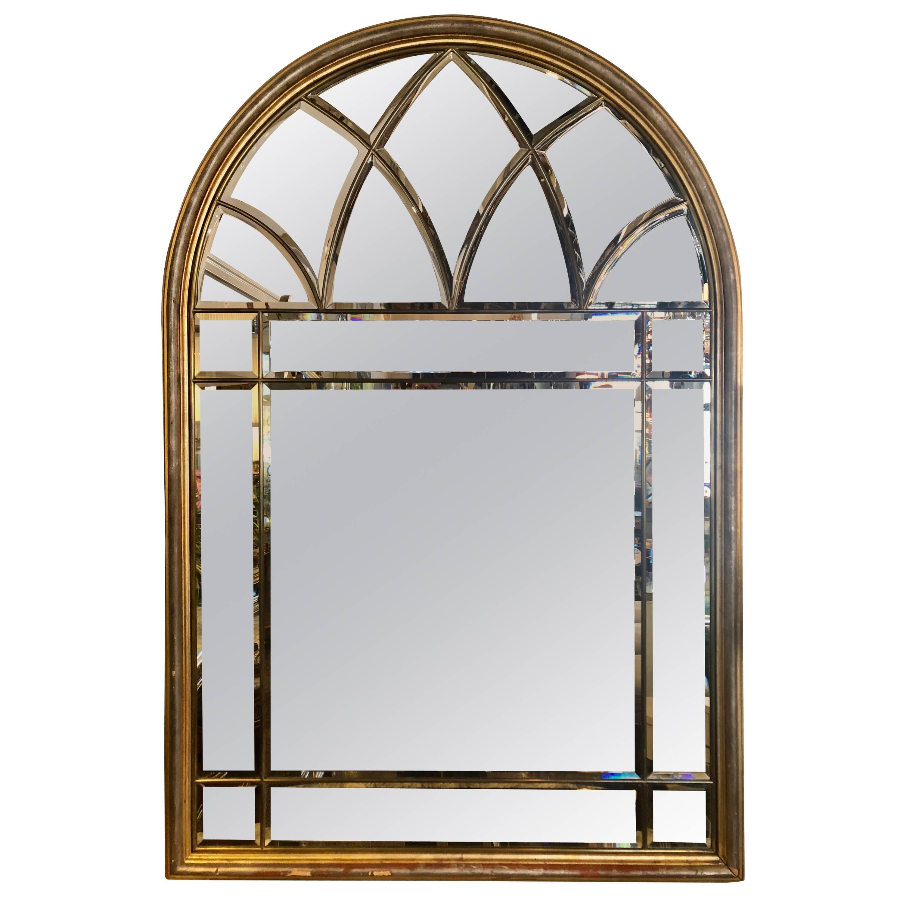 Domed Beveled Glass Detailed Beveled Wall or Console Mirror by La Barge
