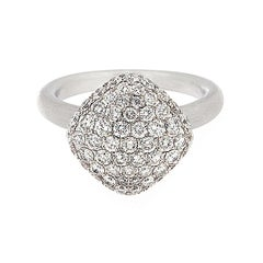 Domed Button Shape Diamond Satin Finish Gold Ring