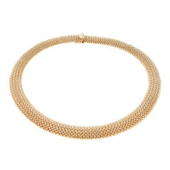 Domed Mesh Yellow Gold Necklace