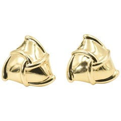 Domed Triangle 14 Karat Gold Earrings with Woven Ribbon Design