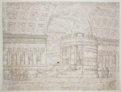 Interior of the Temple of Venus - Original Etching by D. Amici - 19th Century