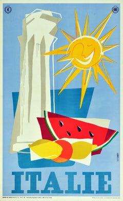 Original Vintage Travel Poster Italie Italy ENIT Ancient Roman Column Fruit Sun
