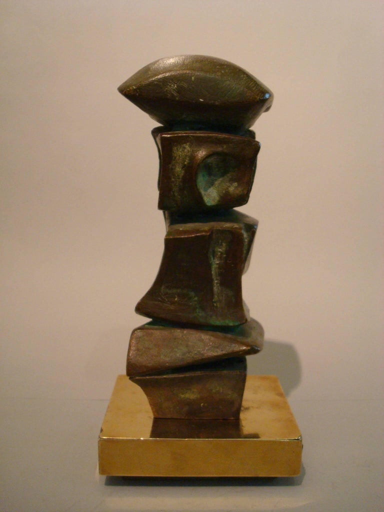 Mid Century Domenico Calabrone Signed Bronze Sculpture Italy Brazil Abstract  For Sale 4