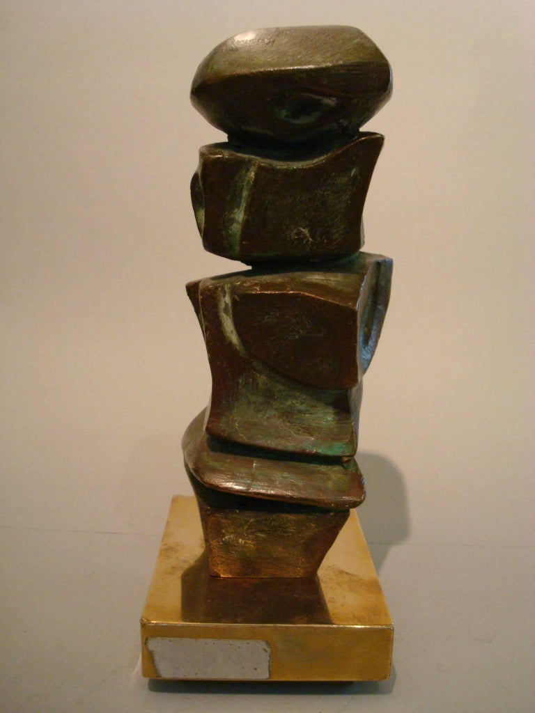 Bronze sculpture by listed artist Domenico Calabrone (1928-2000). Modern Abstract. Signed Calabrone 038.