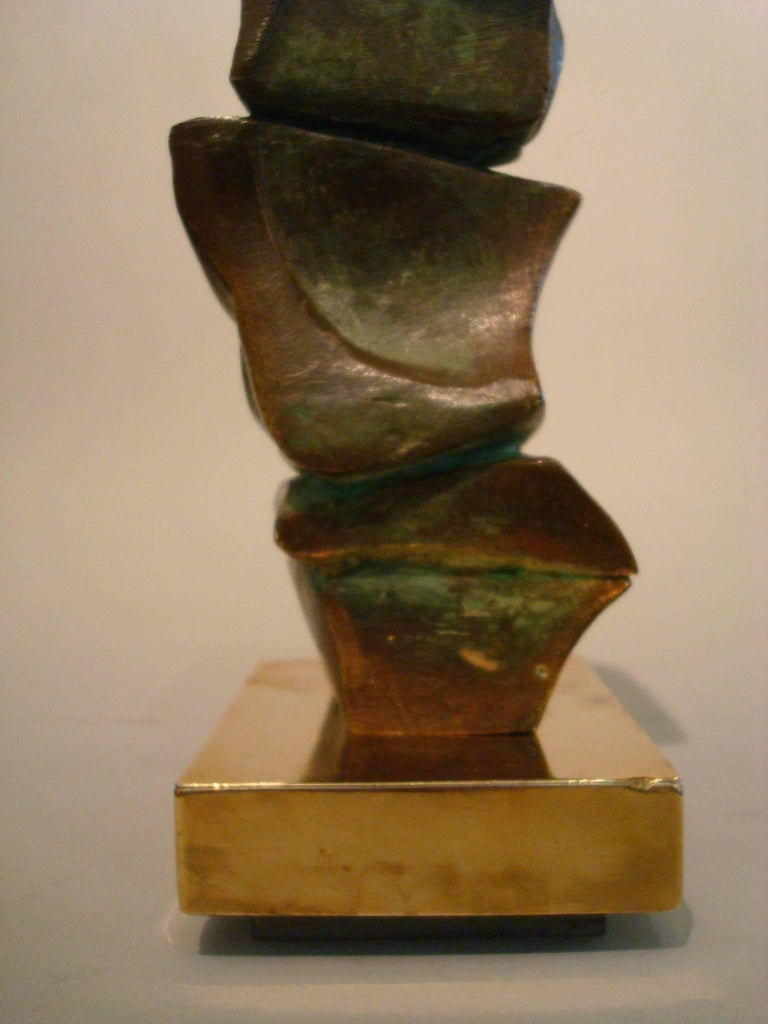 Mid Century Domenico Calabrone Signed Bronze Sculpture Italy Brazil Abstract  In Good Condition For Sale In Buenos Aires, Olivos