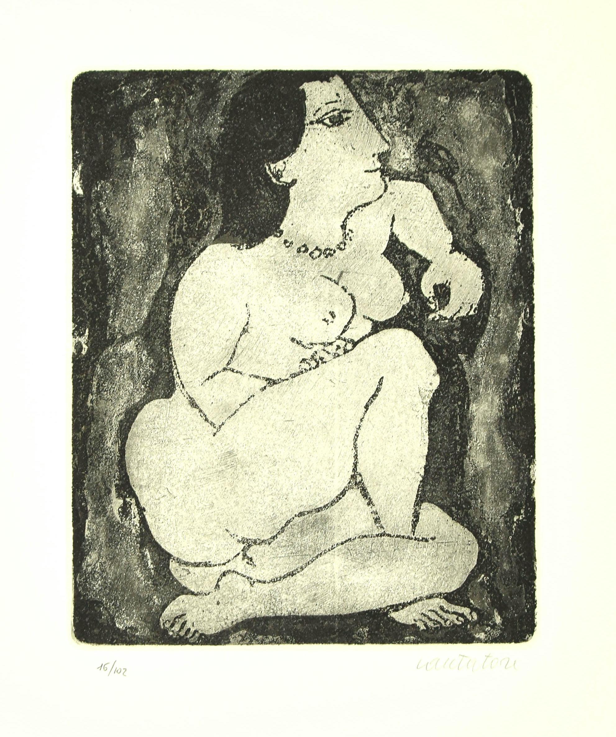 Nude - Original Etching by D. Cantatore - 1964