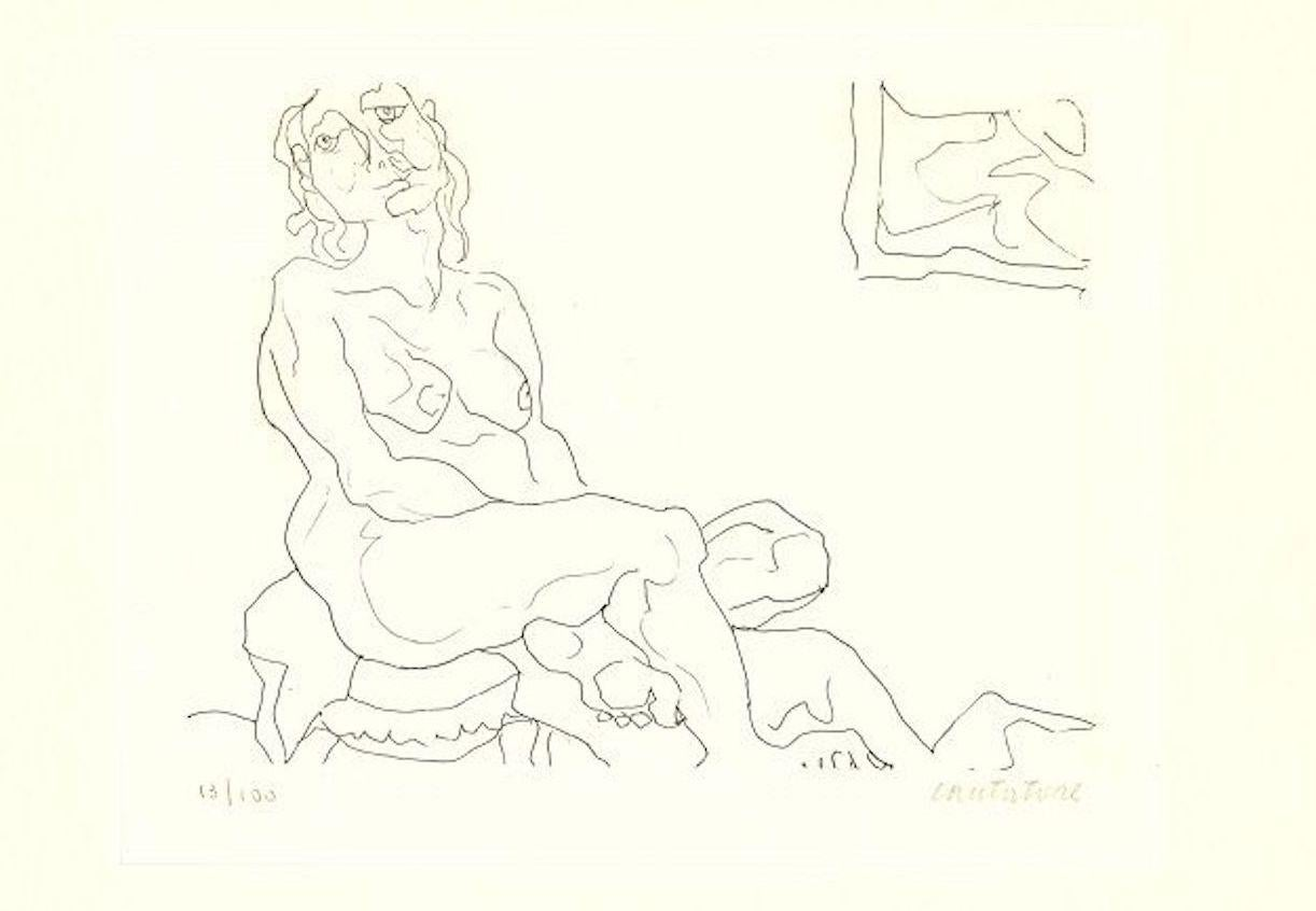 Sitting Female Nude - Original Etching by D. Catatore - 1970s