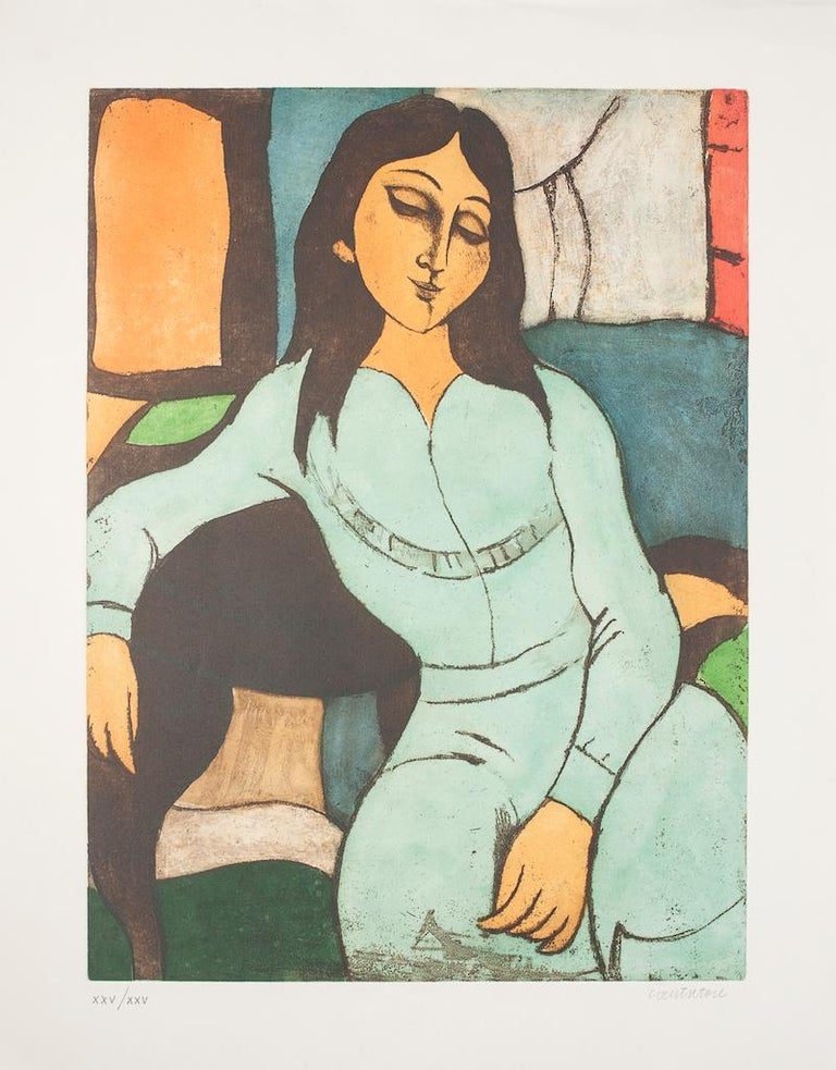 Sitting Woman is a beautiful original lithograph realized by the Italian master Domenico Cantatore.  A wonderful original print representing a seated woman through vivid color in a well-balanced composition.  Hand-signed on the lower right  Numbered