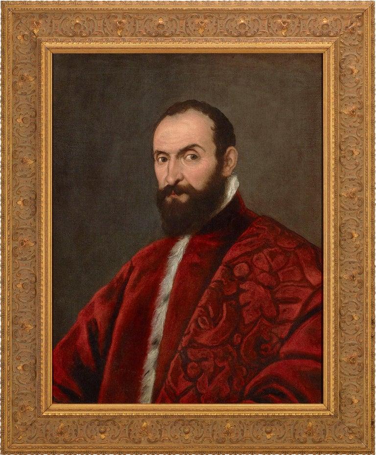 Portrait of a Venetian Senator attributed to Domenico Tintoretto - Renaissance Painting by Domenico Tintoretto