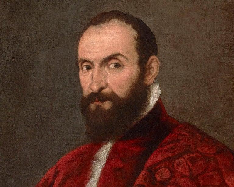 Portrait of a Venetian Senator attributed to Domenico Tintoretto - Brown Portrait Painting by Domenico Tintoretto