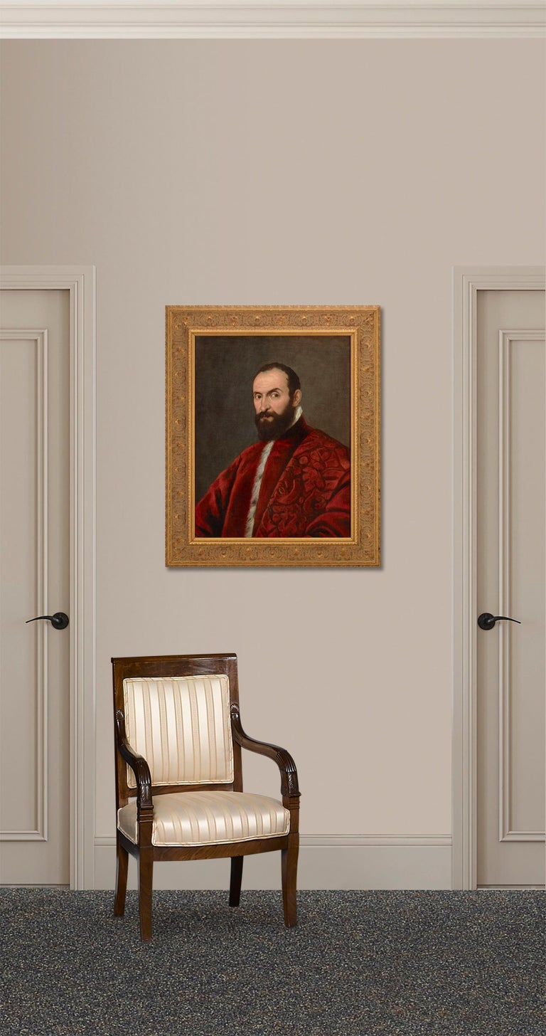 Showcasing an incredible level of vivacity in the sitter as well as an impeccable study of fabric, this Portrait of a Venetian Senator bears the hallmarks of 16th-century Venetian portraiture. A comparison specifically with the work of Domenico