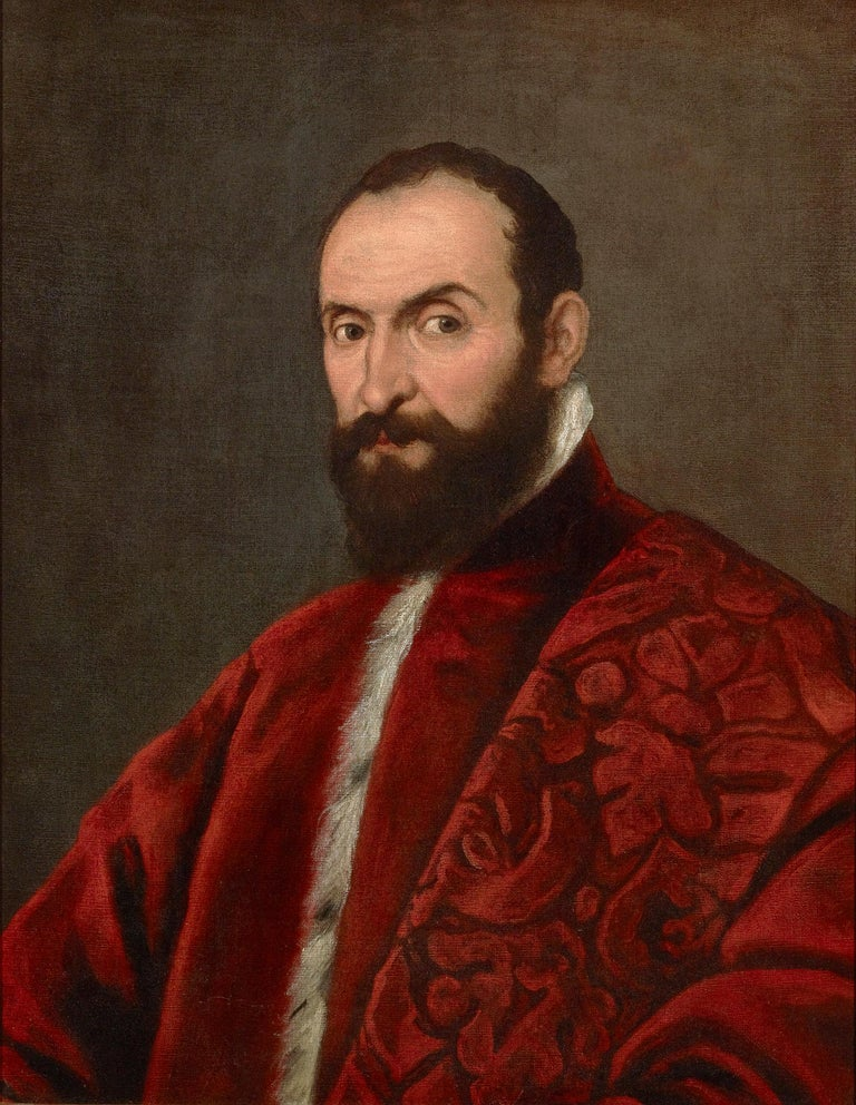 Portrait of a Venetian Senator attributed to Domenico Tintoretto - Painting by Domenico Tintoretto
