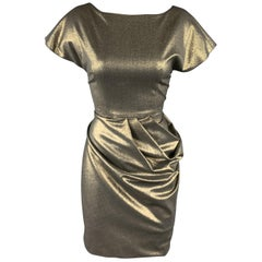 DOMENICO VACCA Size 4 Metallic Gold Side Pleat Skirt Dress