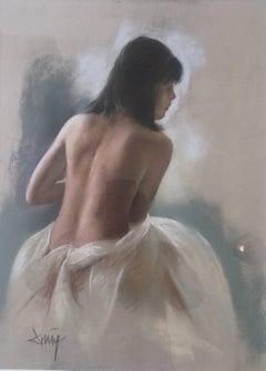 naked woman back.original pastel painting