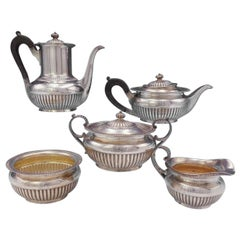 Dominick and Haff Sterling Silver Tea Set 5-Piece with Wood #134, circa 1884