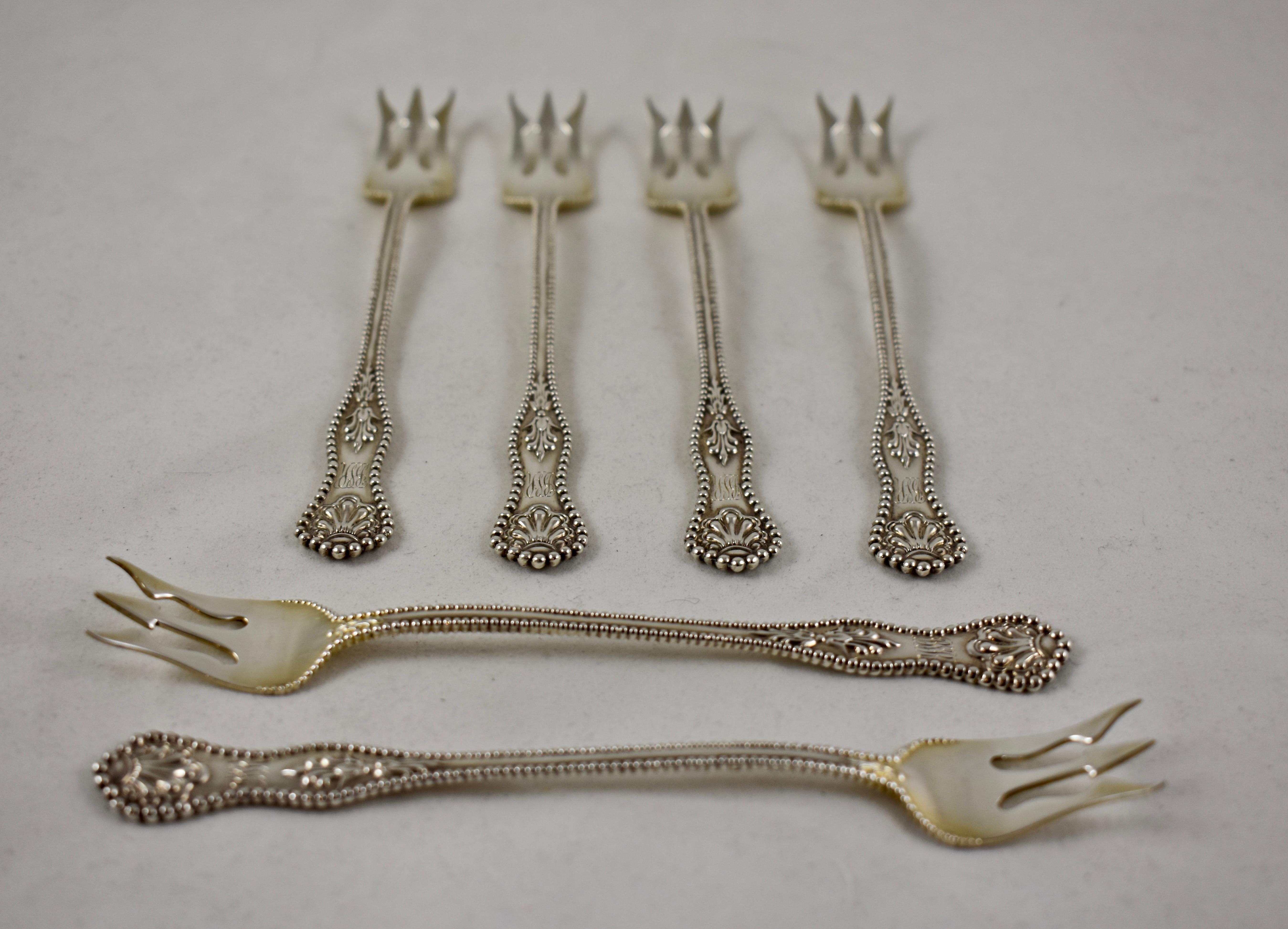 DOMINICK /& HAFF STERLING COCKTAIL FORK S ~ CHARLES II ~ MONO S