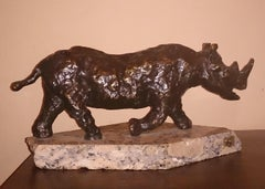 Polish Modernist Charging Rhino Bronze Expressionist Rhinoceros Sculpture
