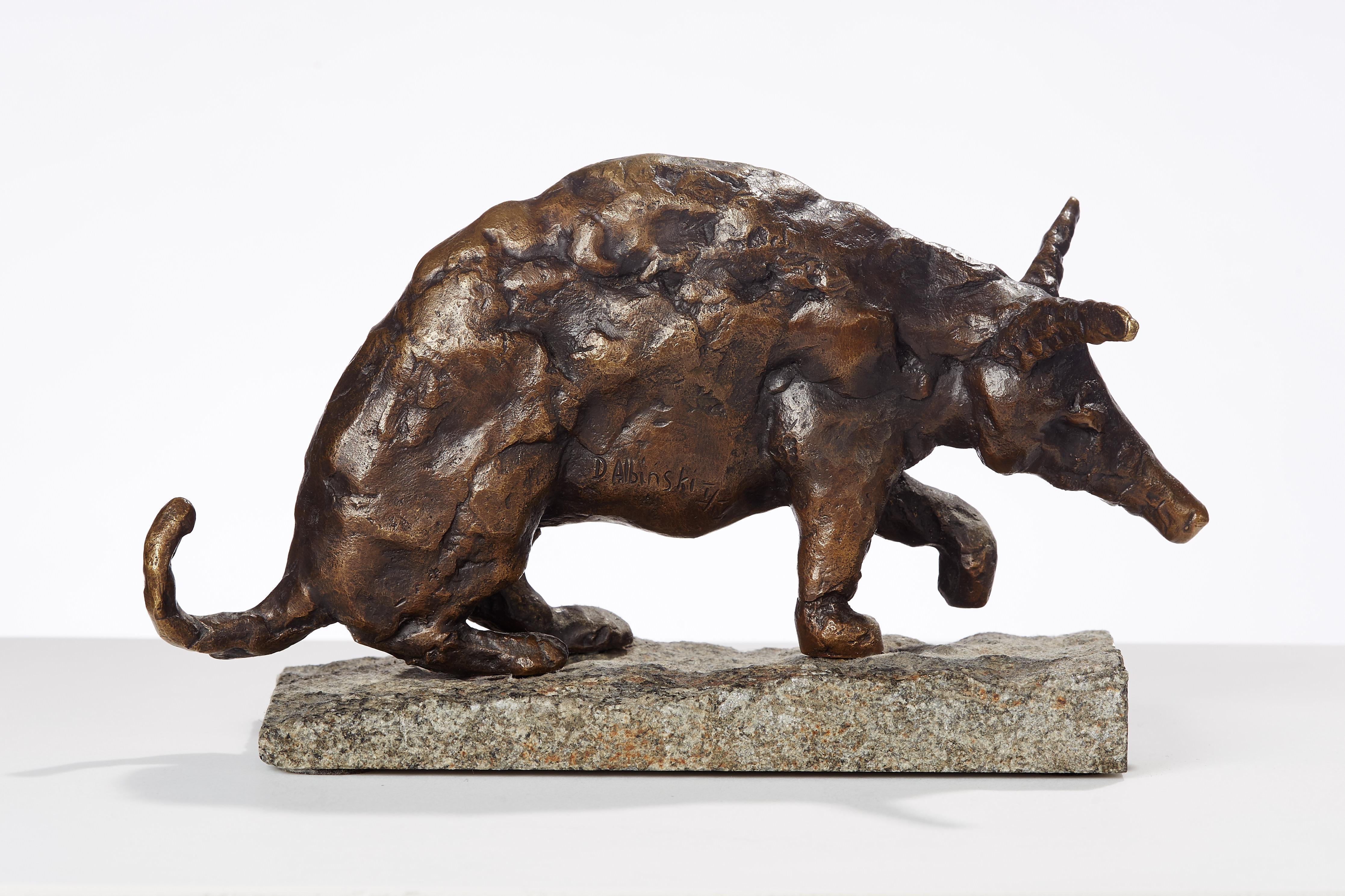 Polish Modernist Man ANTEATER Bronze Expressionist  Art Sculpture