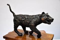 Polish Modernist Man Lioness Bronze Expressionist Lion Art Sculpture