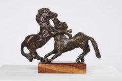 Polish Modernist Prancing Horses Bronze Expressionist Art Sculpture