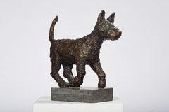 Polish Modernist PUPPY DOG Bronze Expressionist Art Sculpture