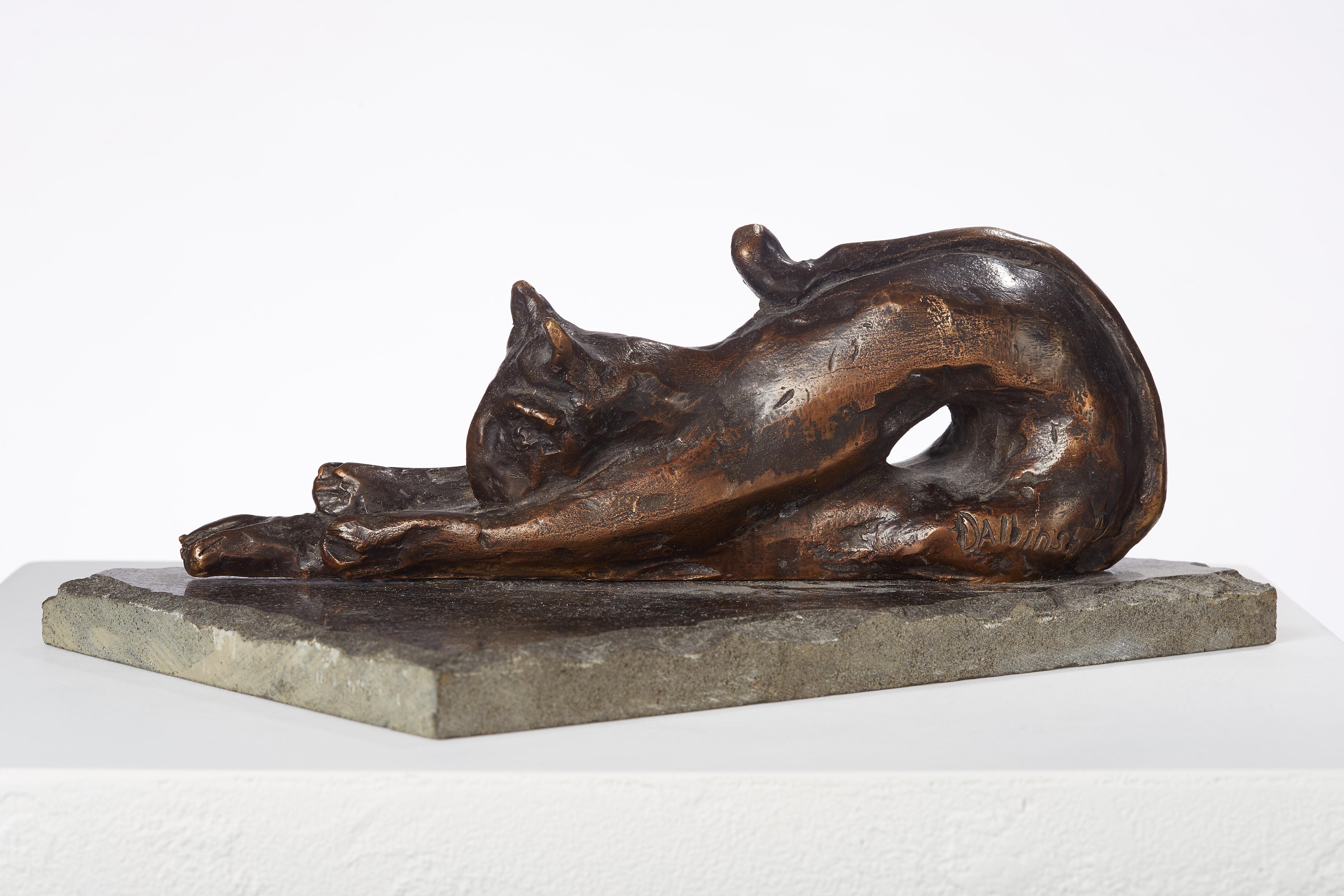 Polish Modernist Stretching CAT Bronze Expressionist Art Sculpture