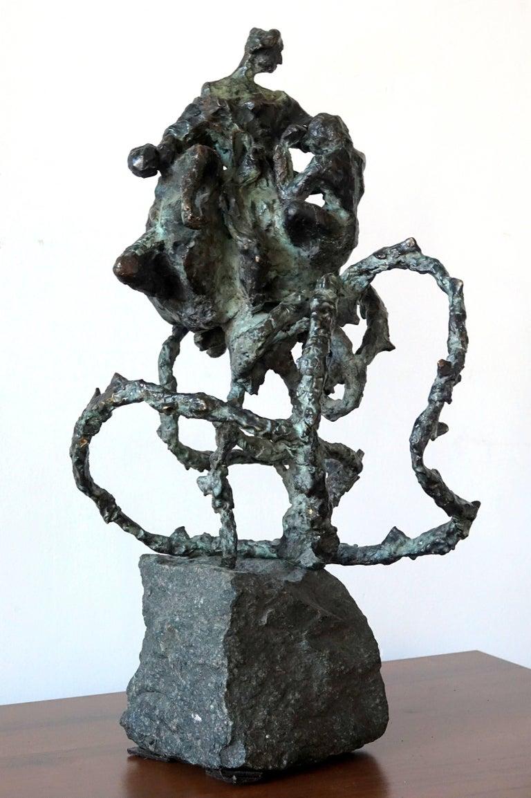 "Dominik Albinski Figurative Sculpture - Polish-South African Modernist Bronze ""The Rose"" Expressionist Sculpture"