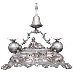 Dominikus Kott 19th Century German Silver Rococo Ink Stand, 1840s