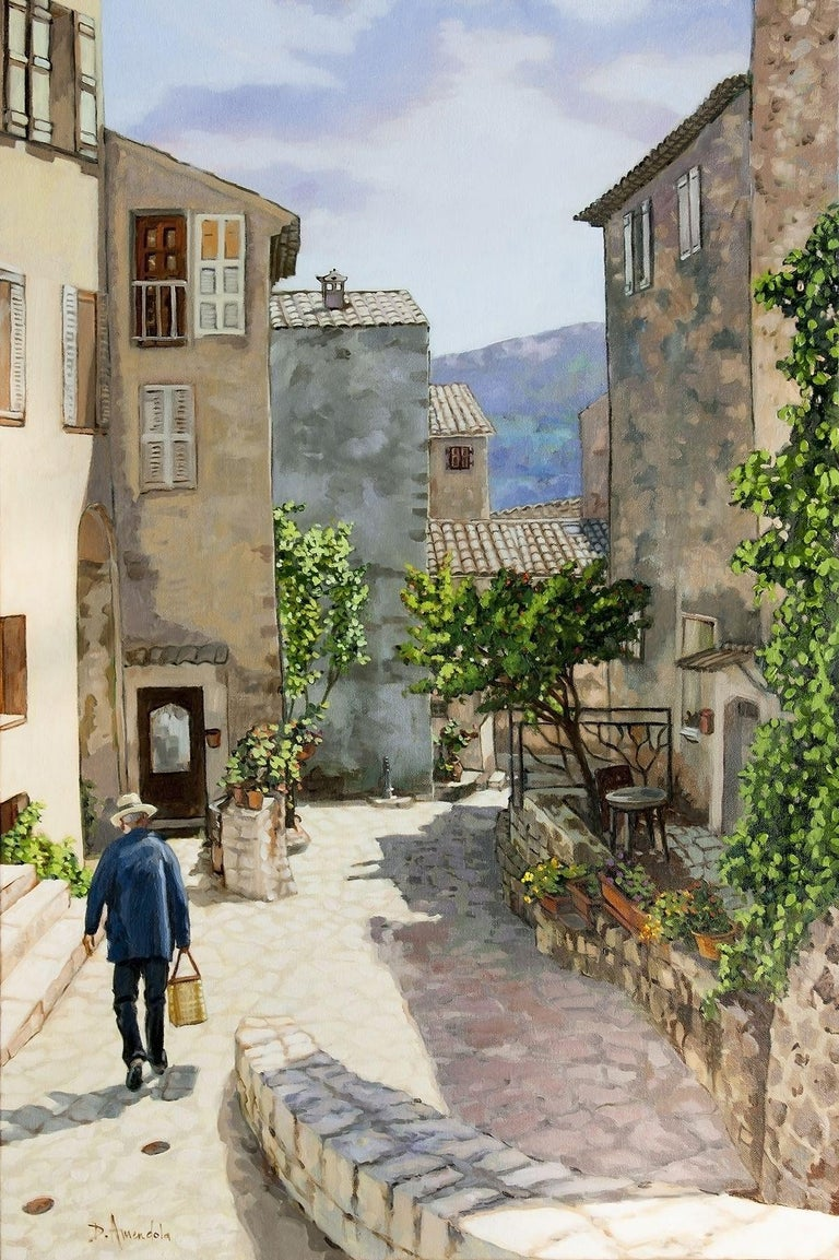 Oil painting on linen canvas painted on location, in Provence, France.  Carriero Du Pourtegue, is the name of a village in Provence, France, also called Carros. This is painted on location, in Summer in the old village. Carros is a very old commune