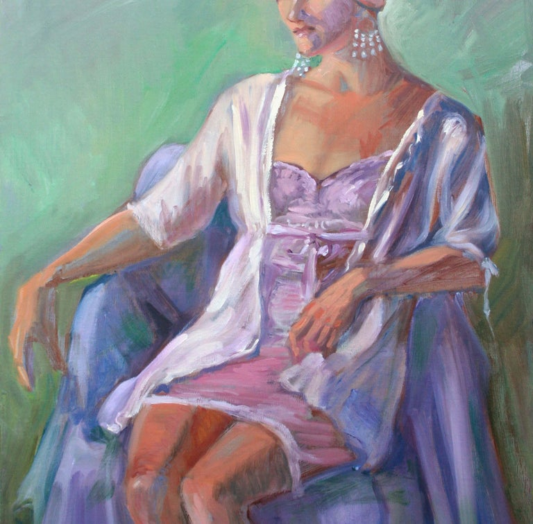 Compelling figure painting of a seated woman dressed in purple art deco style by listed artist Dominique Amendola (France, 20th Century). Signed