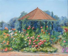 Gazebo with flowers, Painting, Oil on Canvas