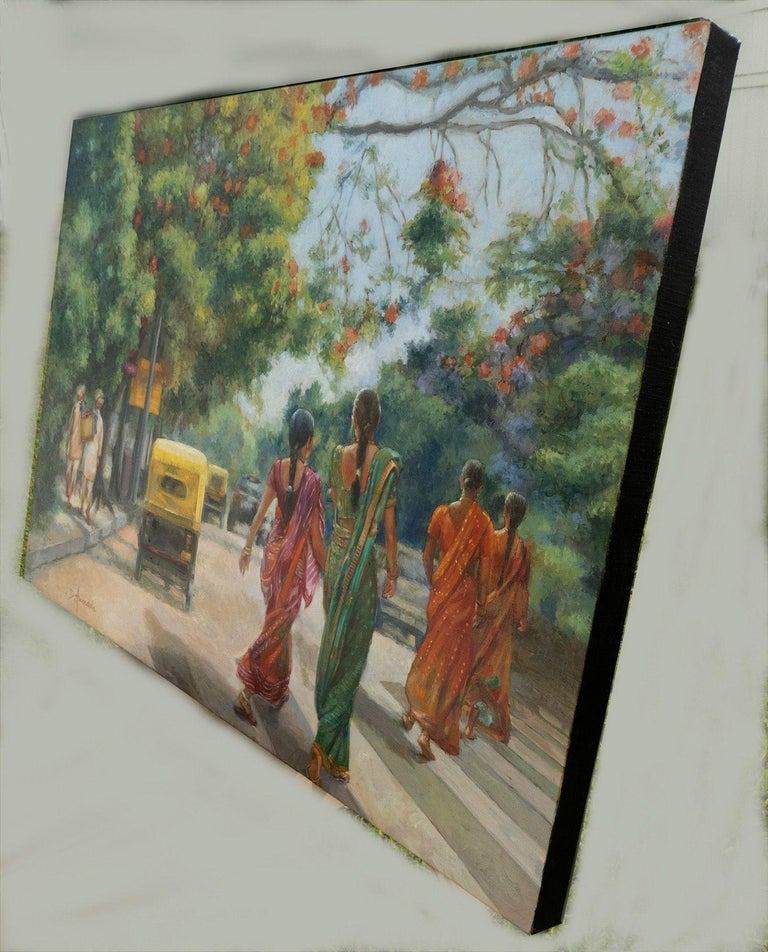 India Street Scene In Flowery Bangalore, Painting, Oil on Canvas For Sale 1